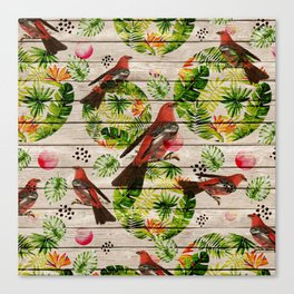 Rustic white wood tropical red green watercolor floral red birds Canvas Print