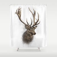 stag Shower Curtains featuring stag by emegi