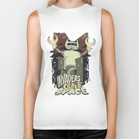 outer space Biker Tanks featuring Invaders from outer space by Tshirt-Factory