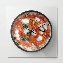 Pizza Margherita Clock Metal Print