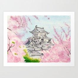 Himeji Castle , Art Watercolor Painting print by Suisai Genki , cherry blossom , Japanese Castle Kunstdrucke