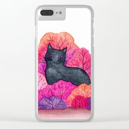Pink Forest Black Cat Watercolor Clear iPhone Case