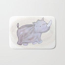 Animal Tales - Rhino in watercolor Bath Mat