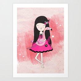 Flavia and Flamingo Art Print