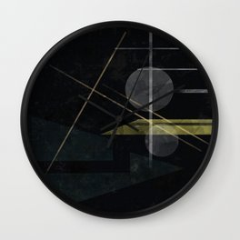 Abstract painting in black colors . Wall Clock