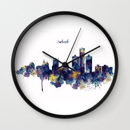 Detroit Skyline Silhouette Wall Clock
