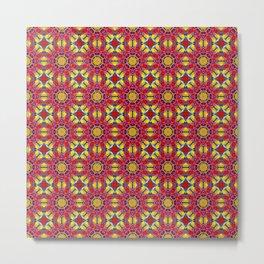 Bonita Stained Glass Red & Yellow Mosaic Pattern Metal Print