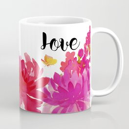 Hot Pink Floral with the word Love Coffee Mug