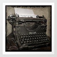 typewriter Art Prints featuring typewriter by planejane