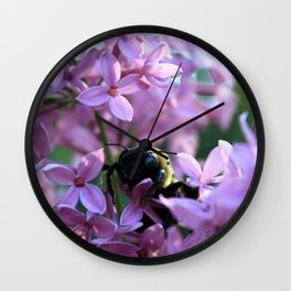 Busy Bee in Lilac Art Photography Wall Clock