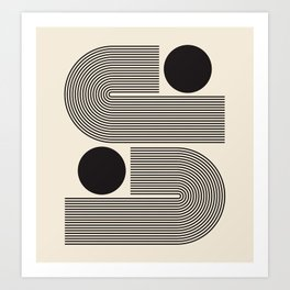 Abstraction_BLACK_LINE_DOT_POP_ART_Minimalism_004D Art Print