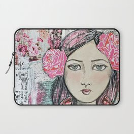 Be Your Own Kind of Beautiful Mixed Media Girl Laptop Sleeve