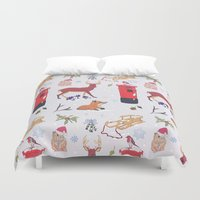 wildlife Duvet Covers featuring Winter Wildlife by minniemorrisart