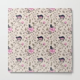 Cats and flowers on beige background Metal Print