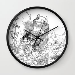 Promenade dans la montagne - Walking in the mountains Wall Clock