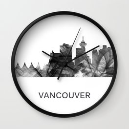 Vancouver, British Columbia Canada skyline WB BW Wall Clock