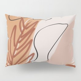 Earth tone palm leaf abstract Pillow Sham