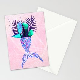Summer Mermaid Tail With Tropical Flowers Bouquet Stationery Cards