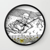 pushing daisies Wall Clocks featuring Pushing Up Daisies by Maria Laureno