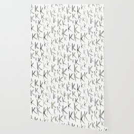 Watercolor K's - Grey Gray Wallpaper