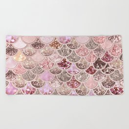 Rose Gold Blush Glitter Ombre Mermaid Scales Pattern Beach Towel