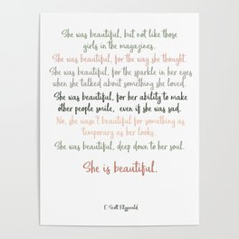 She Was Beautiful By F. Scott Fitzgerald 3 #minimalism #poem Poster