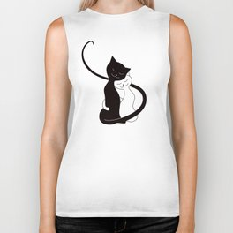 White And Black Cats In Love (red) Biker Tank