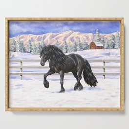 Friesian Horse Trotting In Snow Serving Tray