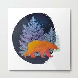 Midnight Moon Bear - Technicolour Safari, Polar bear Metal Print