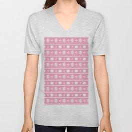 christmas cat sweater pattern pink Unisex V-Neck