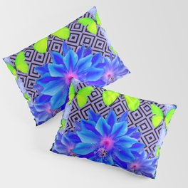 Lime Green Butterflies Blue Tropical Flower Graphic Art Pillow Sham