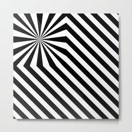 Stripes explosion - Black Metal Print