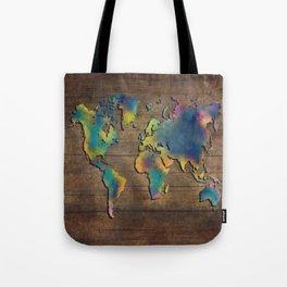 World Map wood Tote Bag
