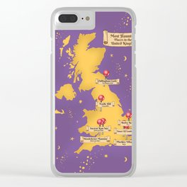 Map Of the Most Haunted Locations of the United Kingdom. Clear iPhone Case
