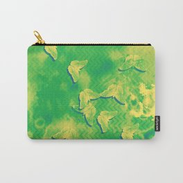Yellow butterflies on textured green chevrons Carry-All Pouch