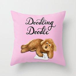 Doodling Doodle (Pink) Throw Pillow