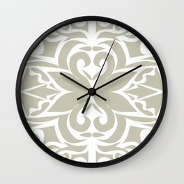grey floral pattern Wall Clock