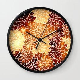 Space Dahlias Golden Bronze Wall Clock