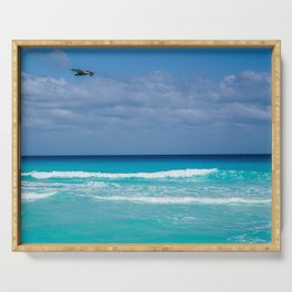 Scenic Turquoise Tropical Beach Serving Tray