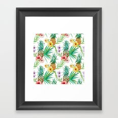 Tropical leaves flowers and pineapple Framed Art Print