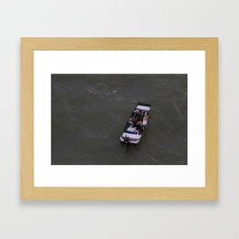 Fisherman Fishing on His Boat in Key Biscayne Miami Framed Art Print