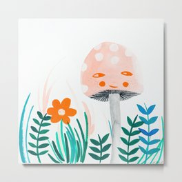 pink mushroom with floral elements Metal Print