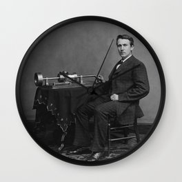 Thomas Edison and His Phonograph Wall Clock