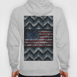 Blue Military Digital Camo Pattern with American Flag Hoody