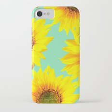 Sunflowers on a pastel green backgrond - #Society6 #buyart iPhone 7 Slim Case
