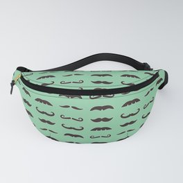 Vintage brown mustaches on seafoam green background Fanny Pack