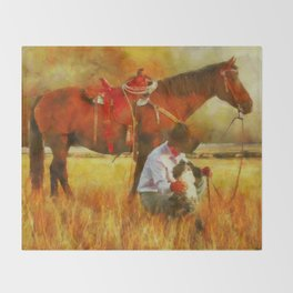 Cowgirl In A Fall Field Throw Blanket