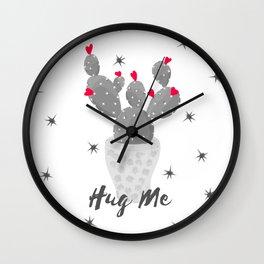 Hug Me Cactus in Pot Hearts Design Wall Clock