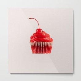 Cupcake Love - Cherry on White Sparkles Metal Print