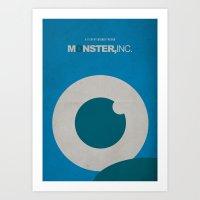 monster inc Art Prints featuring Monster, Inc. - Blue (Vintage) by Lemontrend Studio